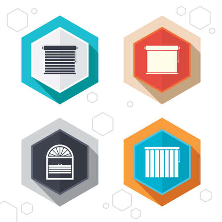 Hexagon buttons. Louvers icons. Plisse, rolls, vertical and horizontal. Window blinds or jalousie symbols. Labels with shadow. Vector