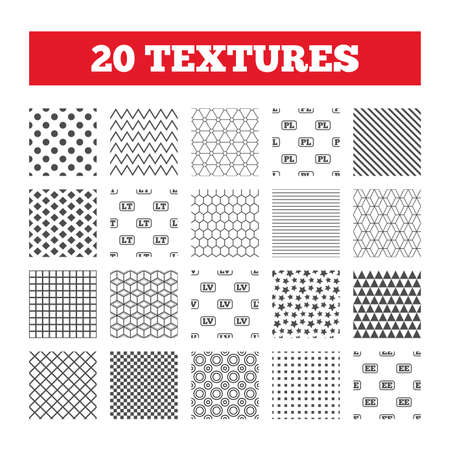 Seamless patterns. Endless textures. Language icons. PL, LV, LT and EE translation symbols. Poland, Latvia, Lithuania and Estonia languages. Geometric tiles, rhombus. Vector Illustration