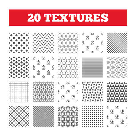 15 to 20: Seamless patterns. Endless textures. Timer icons. 5, 15, 20 and 30 minutes stopwatch symbols. Geometric tiles, rhombus. Vector
