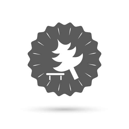break down: Vintage emblem medal. Falling tree sign icon. Caution break down christmas tree symbol. Classic flat icon. Vector
