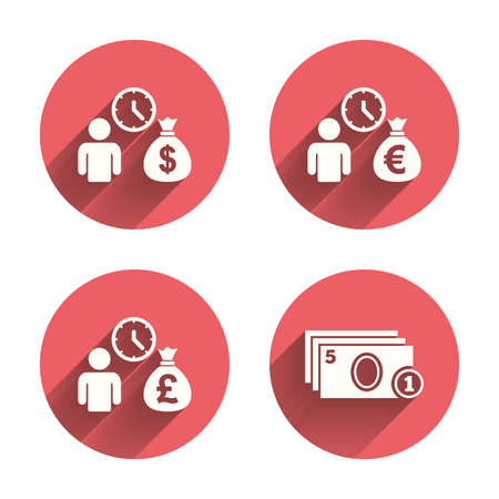 fast money: Bank loans icons. Cash money bag symbols. Borrow money sign. Get Dollar money fast. Pink circles flat buttons with shadow. Vector Illustration