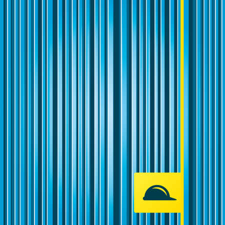 hard hat icon: Lines blue background. Hard hat sign icon. Construction helmet symbol. Yellow tag label. Vector
