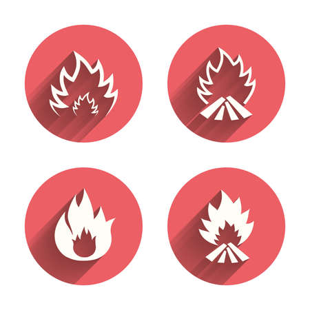 Fire flame icons. Heat symbols. Inflammable signs. Pink circles flat buttons with shadow. Vector Illustration
