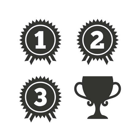 second prize: First, second and third place icons. Award medals sign symbols. Prize cup for winner. Flat icons on white. Vector