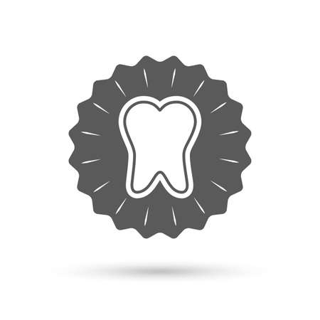 enamel: Vintage emblem medal. Tooth enamel protection sign icon. Dental toothpaste care symbol. Healthy teeth. Classic flat icon. Vector