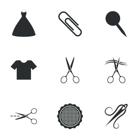 canva: Tailor, sewing and embroidery icons. Scissors, safety pin and needle signs. Shirt and dress symbols. Flat icons on white. Vector Illustration