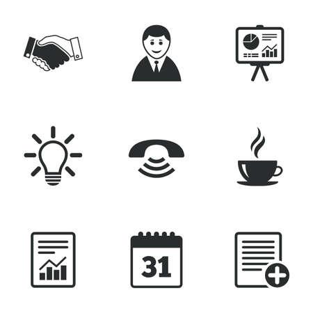 Bureau, documents et icônes d'affaires. Homme d'affaires, poignée de main et signes d'appel. Graphique, présentation et symboles de calendrier. Icônes plats sur blanc. Vecteur Banque d'images - 46463789