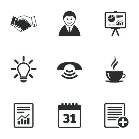 Office, documents and business icons. Businessman, handshake and call signs. Chart, presentation and calendar symbols. Flat icons on white. Vector Ilustração
