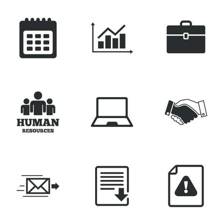 office documents: Office, documents and business icons. Human resources, handshake and download signs. Chart, laptop and calendar symbols. Flat icons on white. Vector Illustration