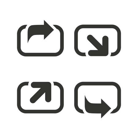 forward arrow: Action icons. Share symbols. Send forward arrow signs. Flat icons on white. Vector Illustration