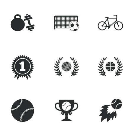 triunfador: Juegos de deportes, íconos de fitness. Signos de fútbol, ??baloncesto y tenis. Golf, bicicletas y medallas ganador símbolos. Iconos planos en blanco. Vector Vectores