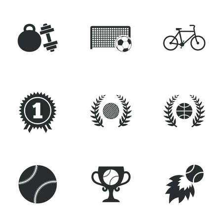 winner: Sport games, fitness icons. Football, basketball and tennis signs. Golf, bike and winner medal symbols. Flat icons on white. Vector Illustration