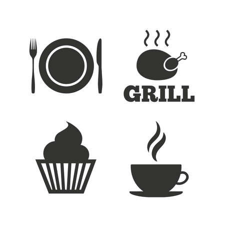 hot plate: Food and drink icons. Muffin cupcake symbol. Plate dish with fork and knife sign. Hot coffee cup. Flat icons on white. Vector