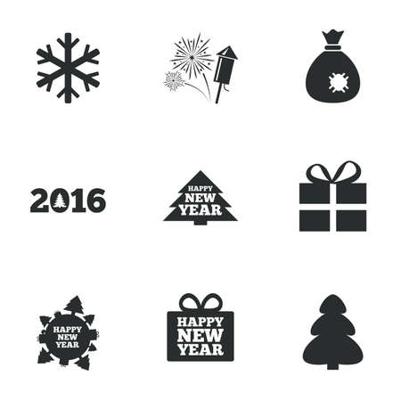 salut: Christmas, new year icons. Gift box, fireworks and snowflake signs. Santa bag, salut and rocket symbols. Flat icons on white. Vector