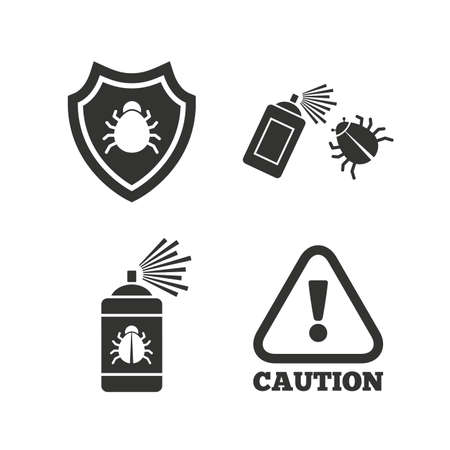 fumigation: Bug disinfection icons. Caution attention and shield symbols. Insect fumigation spray sign. Flat icons on white. Vector Illustration