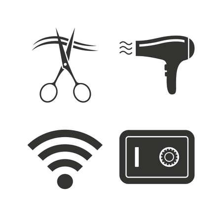 Spa, Friseur Icons. Schwimmbad Zeichen. Damenunterwäsche, Schere Und ...