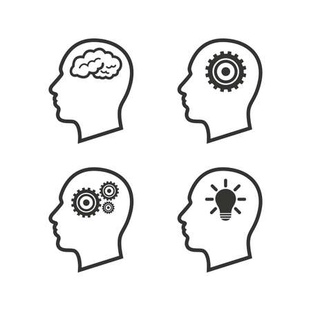 man head: Head with brain and idea lamp bulb icons. Male human think symbols. Cogwheel gears signs. Flat icons on white. Vector