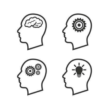 Tête avec le cerveau et les icônes d'ampoule lampe idée. Homme humain pense symboles. Signes d'engrenages de roue dentée. Icônes plats sur blanc. Vecteur Vecteurs