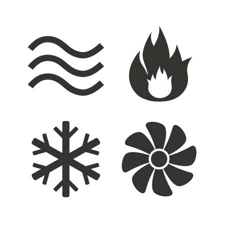 on air sign: HVAC icons. Heating, ventilating and air conditioning symbols. Water supply. Climate control technology signs. Flat icons on white. Vector Illustration
