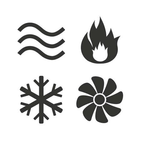 flujo: Iconos HVAC. Calefacción, ventilación y aire acondicionado símbolos. Suministro de agua. Muestras de la tecnología de control climático. Iconos planos en blanco. Vector Vectores