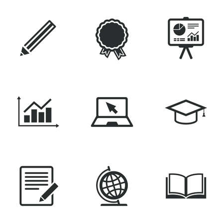 study icon: Education and study icon. Presentation signs. Report, analysis and award medal symbols. Flat icons on white. Vector