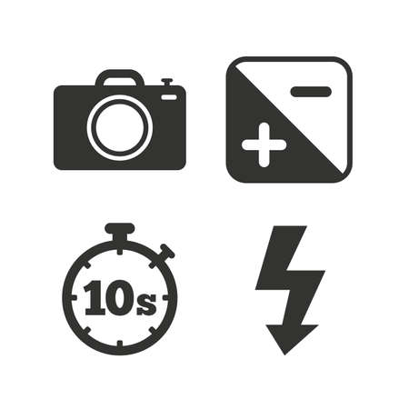 luminance: Photo camera icon. Flash light and exposure symbols. Stopwatch timer 10 seconds sign. Flat icons on white. Vector