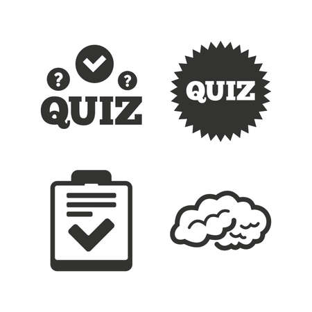 poll: Quiz icons. Human brain think. Checklist symbol. Survey poll or questionnaire feedback form. Questions and answers game sign. Flat icons on white. Vector Illustration
