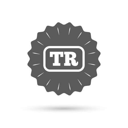 tr: Vintage emblem medal. Turkish language sign icon. TR Turkey translation symbol with frame. Classic flat icon. Vector Illustration