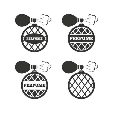 perfume: Perfume bottle icons. Glamour fragrance sign symbols. Flat icons on white. Vector