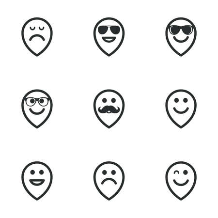 sorrowful: Smile pointers icons. Happy, sad and wink faces signs. Sunglasses, mustache and laughing lol smiley symbols. Flat icons on white. Vector