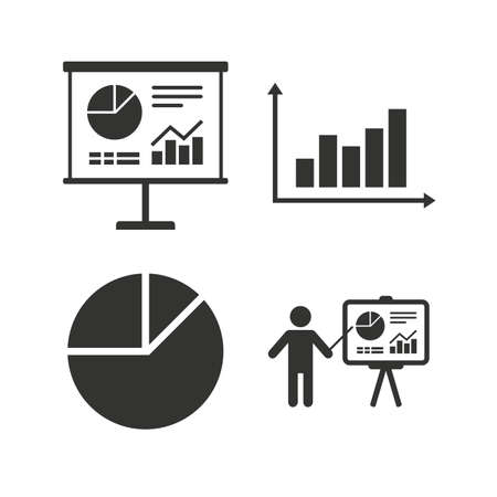 demand: Diagram graph Pie chart icon. Presentation billboard symbol. Supply and demand. Man standing with pointer. Flat icons on white. Vector Illustration