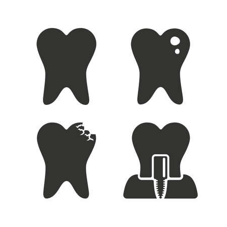 stomatologist: Dental care icons. Caries tooth sign. Tooth endosseous implant symbol. Flat icons on white. Vector