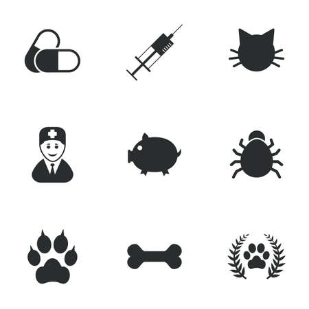cat suit: Veterinary, pets icons. Paw, syringe and bone signs. Pills, cat and doctor symbols. Flat icons on white. Vector Illustration