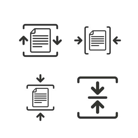 compression: Archive file icons. Compressed zipped document signs. Data compression symbols. Flat icons on white. Vector Illustration