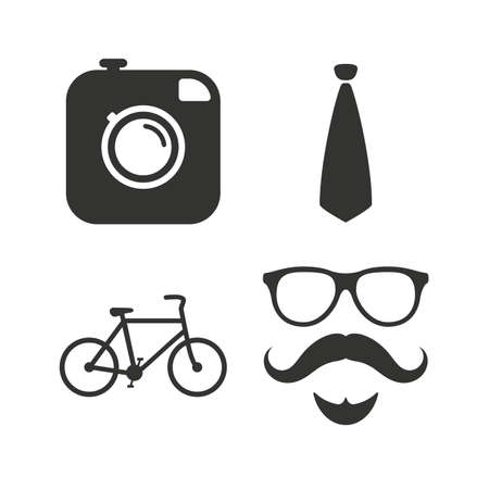glasses icon: Hipster photo camera. Mustache with beard icon. Glasses and tie symbols. Bicycle sign. Flat icons on white. Vector