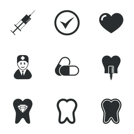 stomatology: Tooth, dental care icons. Stomatology, syringe and implant signs. Healthy teeth, dentist and pills symbols. Flat icons on white. Vector