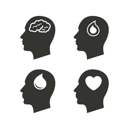heart health: Head with brain icon. Male human think symbols. Blood drop donation sign. Love heart. Flat icons on white. Vector