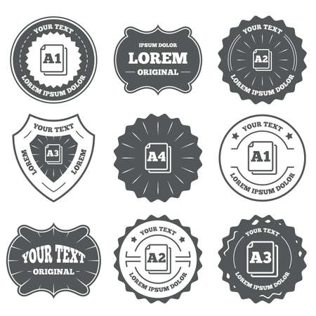 a2: Vintage emblems, labels. Paper size standard icons. Document symbols. A1, A2, A3 and A4 page signs. Design elements. Vector Illustration