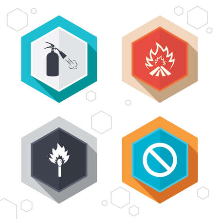 no edges: Hexagon buttons. Fire flame icons. Fire extinguisher sign. Prohibition stop symbol. Burning matchstick. Labels with shadow. Vector