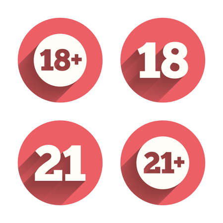 eighteen: Adult content icons. Eighteen and twenty-one plus years sign symbols. Pink circles flat buttons with shadow. Vector Illustration
