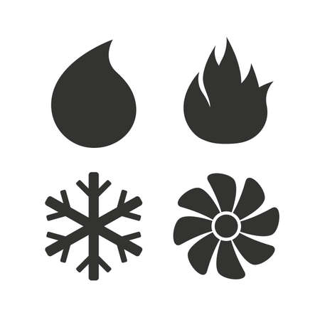 flame: HVAC icons. Heating, ventilating and air conditioning symbols. Water supply. Climate control technology signs. Flat icons on white. Vector Illustration