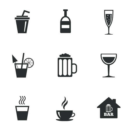 Coffee, tea icons. Beer, wine and cocktail signs. Soft and alcohol drinks symbols. Flat icons on white. Vector