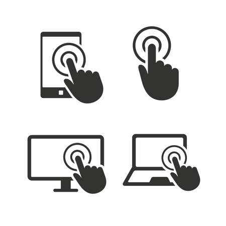 laptop screen: Touch screen smartphone icons. Hand pointer symbols. Notebook or Laptop pc sign. Flat icons on white. Vector Illustration