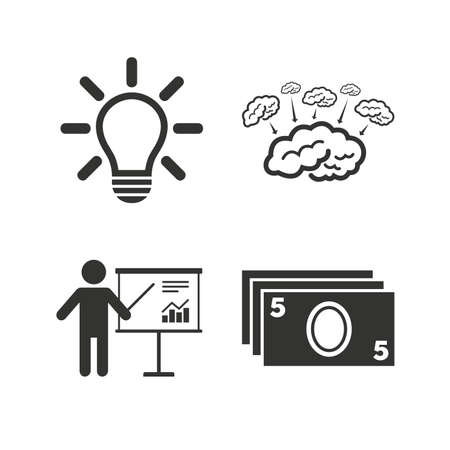 standing lamp: Presentation billboard, brainstorm icons. Cash money and lamp idea signs. Man standing with pointer. Scheme and Diagram symbol. Flat icons on white. Vector