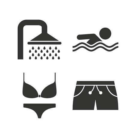 sea water: Swimming pool icons. Shower water drops and swimwear symbols. Human swims in sea waves sign. Trunks and women underwear. Flat icons on white. Vector Illustration