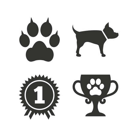 Pets icons. Cat paw with clutches sign. Winner cup and medal symbol. Dog silhouette. Flat icons on white. Vector