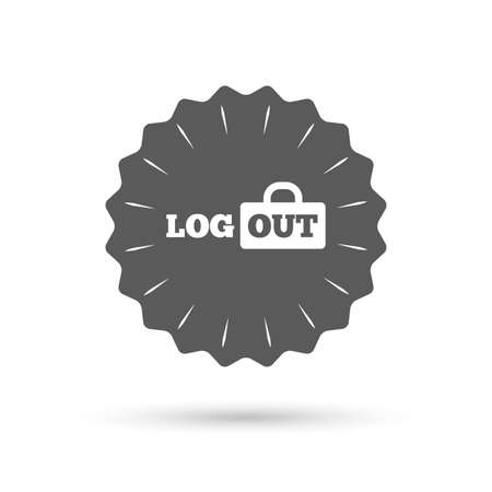 lock out: Vintage emblem medal. Logout sign icon. Sign out symbol. Lock icon. Classic flat icon. Vector