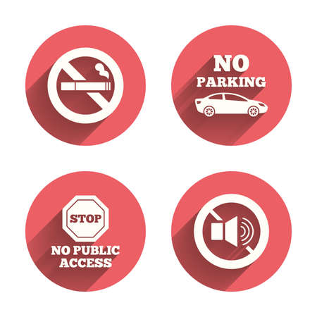 private access: Stop smoking and no sound signs. Private territory parking or public access. Cigarette symbol. Speaker volume. Pink circles flat buttons with shadow. Vector