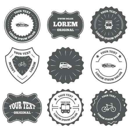 original bike: Vintage emblems, labels. Public transport icons. Free bus, bicycle and taxi signs. Car transport symbol. Design elements. Vector