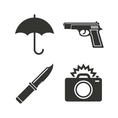 edged: Gun weapon icon.Knife, umbrella and photo camera with flash signs. Edged hunting equipment. Prohibition objects. Flat icons on white. Vector Illustration